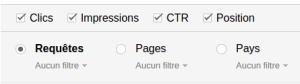 Filtre d'analyse Search Console